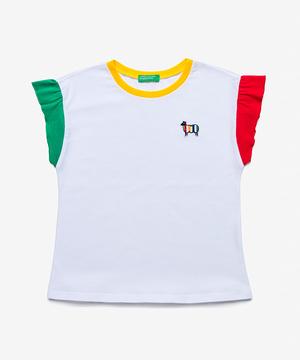 シープアップリケ配色フリルTシャツ・カットソー