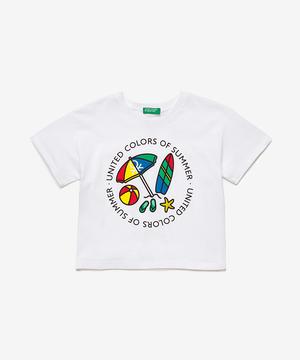 ショート丈ロゴプリントTシャツ・カットソー