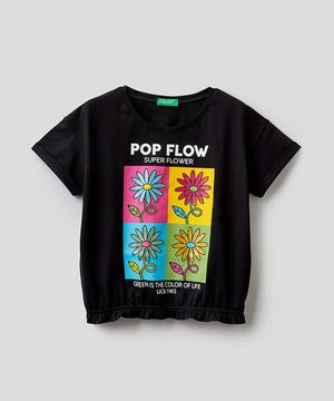 フラワーグリッター裾ゴムTシャツ・カットソー