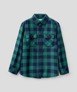 キッズバックロゴデザインポケット長袖柄シャツ