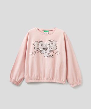 【ピンクパンサーコラボ】キッズスタッズアップリケラウンドネック長袖Tシャツ・カットソー