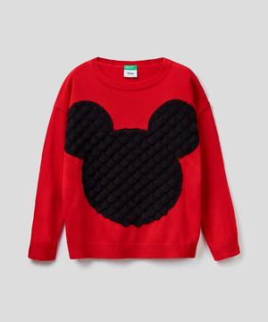 【Disney(ディズニー)コラボ】キッズミッキー3Dアップリケラウンドネックニット・セーター