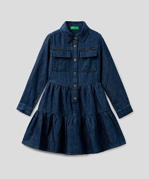 キッズシャツ型フリルスカート長袖ワンピースG