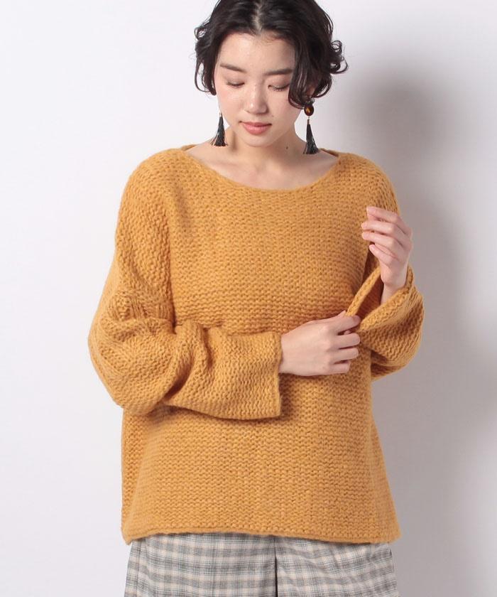 ボートネック裏編みニット・セーター