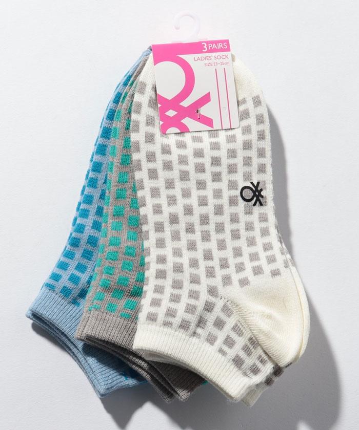 レディースブロックSソックス・靴下3足セット
