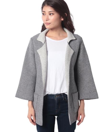 ウールジャガード編みリバーシブルニットコート