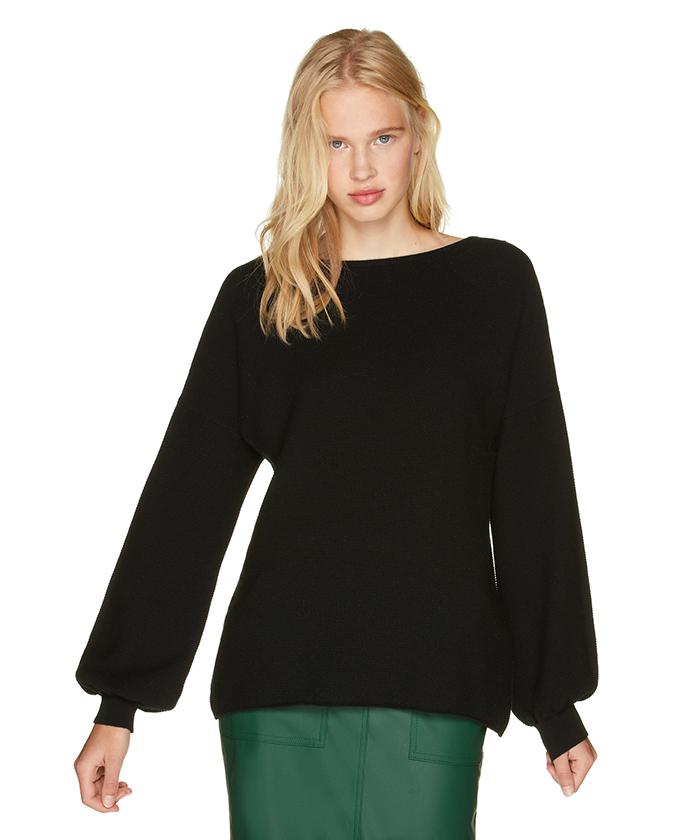 ウールガーター編み袖ボリュームニット・セーター