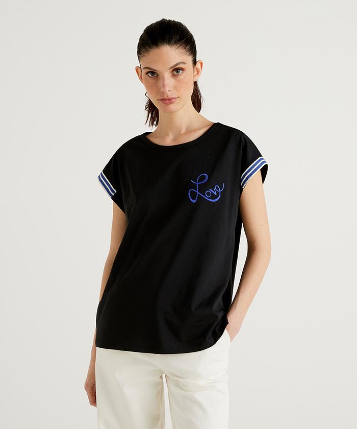 ラウンドネックフレンチスリーブブルーモチーフTシャツ・カットソー