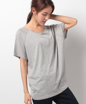 異素材パイピング半袖ビッグTシャツ・カットソー