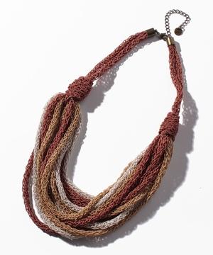 マルチカラー編み込み12連ネックレス