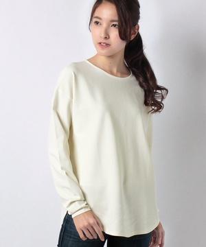 裾ラウンドネックストレッチ長袖カットTシャツ・カットソー