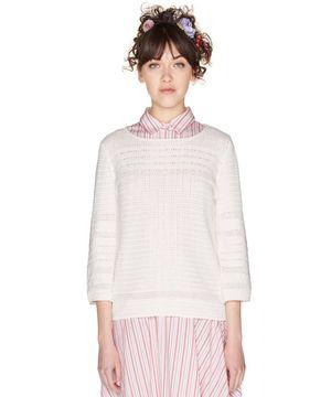 透かし編み7分袖ニット・セーター