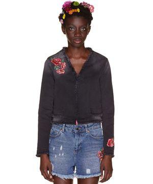 刺繍カットオフデニムジャケット