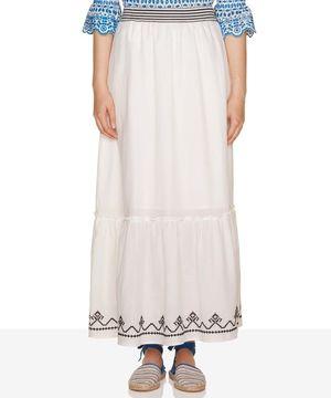 裾刺繍フレアミディスカート