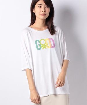 ビッグプリント5分袖Tシャツ・カットソー