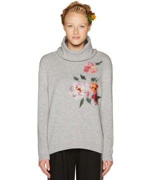 ウールフロント刺繍ニット・セーター