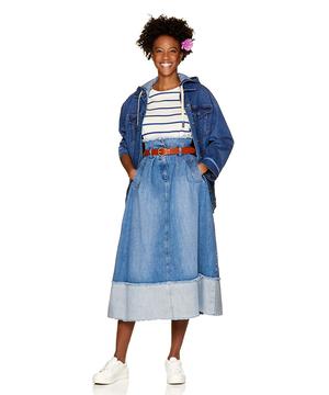 デニム切り替えスカート