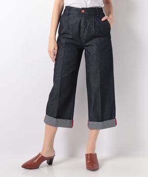 裾ロールアップワイドデニムパンツ