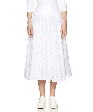 コットン総刺繍フレアスカート