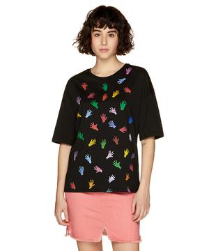 コットンマルチカラーモチーフ半袖Tシャツ・カットソー