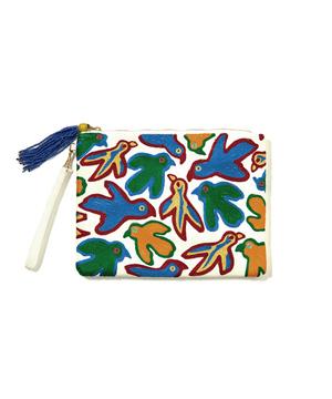 カラフルバード刺繍クラッチバッグ