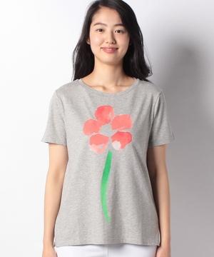 コットンフラワープリント半袖Tシャツ・カットソー