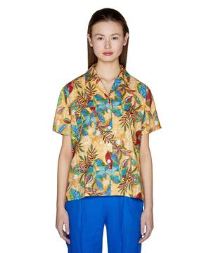 ラメ混プリント半袖シャツ・ブラウス