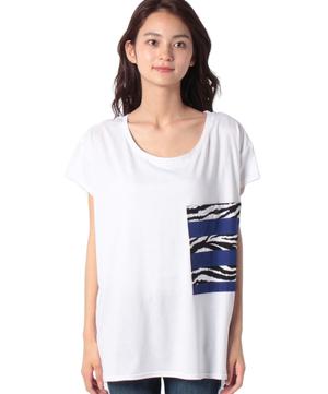 ゼブラプリントポケットルーズ半袖Tシャツ