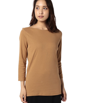 袖ロゴ刺繍ボートネック7分袖Tシャツ・カットソー