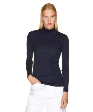 袖ロゴ刺繍ハイネック長袖Tシャツ・カットソー