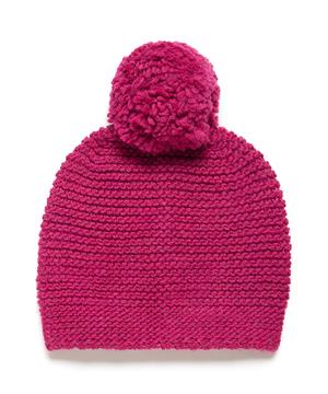 柄編みポンポン付きニットワッチキャップ・ニット帽