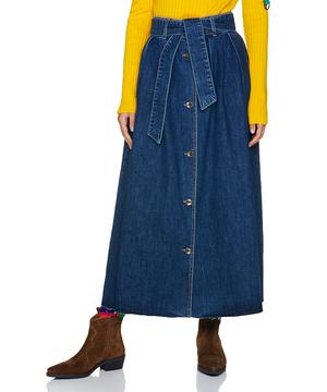 ベルト付きフロントボタンデニムロングスカート