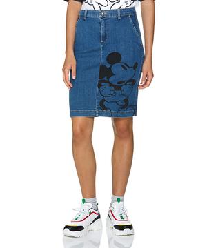 【Disney(ディズニー)コラボ】ミッキーマウスプリント膝丈デニムスカート