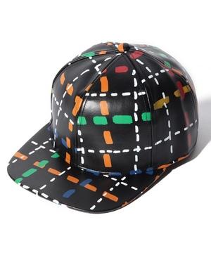 フェイクレザーマルチモチーフ柄キャップ・帽子
