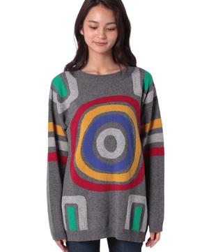 ウールマルチカラー柄ニット・セーター