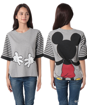 【Disney(ディズニー)コラボ】袖ボーダーミッキーマウスTシャツ・カットソー