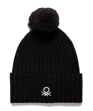 ポンポン付きブランドロゴリブニットワッチキャップ・ニット帽