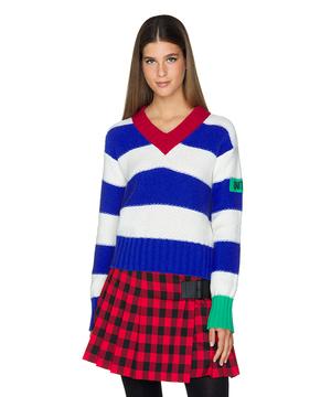 柄編み袖ボリューム短丈Vネックニット・セーター