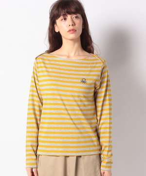 重ねボートネックロゴ刺繍ボーダー7分袖Tシャツ・カットソー