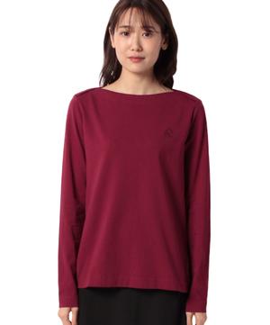 重ねボートネックロゴ刺繍ロングスリーブTシャツ・カットソー