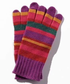 ウールマルチボーダーニットグローブ・手袋