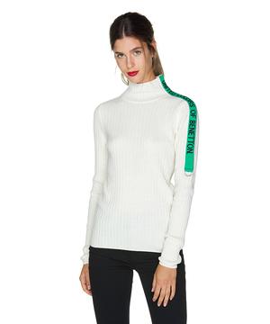 袖配色ハイネックリブコンパクトニット・セーター