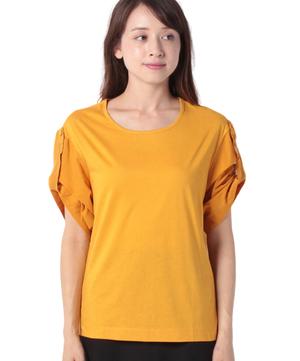 配色ロールアップスリーブオーバーサイズTシャツ・カットソー