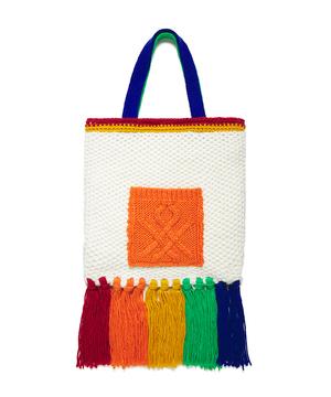 ニット編みフリンジトートバッグ