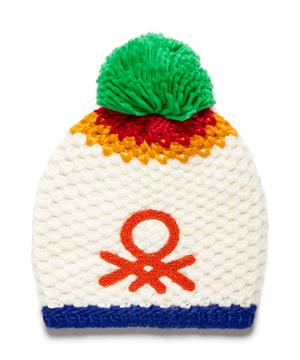 ループロゴポンポン付き配色ニットワッチキャップ・ニット帽