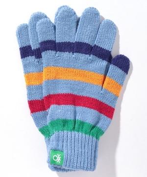 マルチカラーストライプニットグローブ・手袋