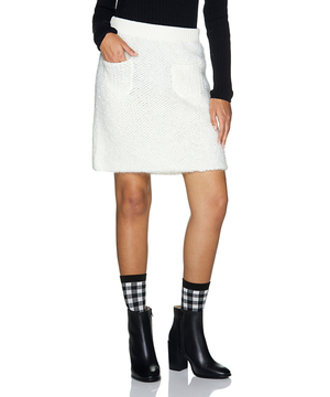 ブークレーフロントポケット付きニットミニスカート
