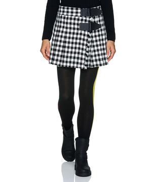 ブロックチェックサイドベルト台形ミニスカート