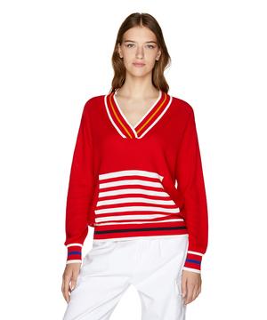 ネックマルチ配色ニット・セーター