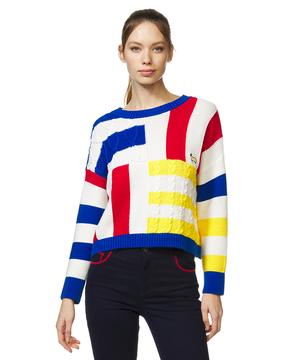 ラウンドネック変形柄編みシープアップリケニット・セーター